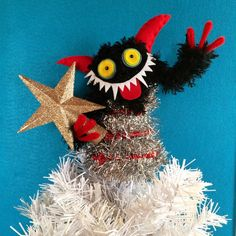 $42 Krampus tree topper. click here to buy!! #krampus #kitchmas #treetopper #holidaydecor #saintnicholasday #etsy