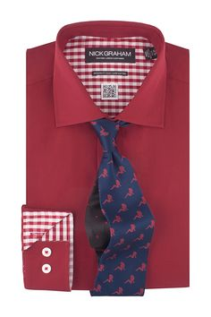 Solid Dress Shirt & Patterned Tie Set