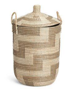 Large Lidded Seagrass Storage Hamper Storage Baskets Seagrass
