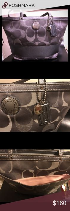 Authentic Silver Coach Bag This Coach is like New and original... if u are a coach fan, this are the originals early coach and I treated it like my baby always wrapped up and hardly ever used . It also has a back space for extra storage Coach Bags Shoulder Bags