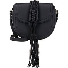Altuzarra Ghianda Knot Small Saddle Bag ($2,195) ❤ liked on Polyvore featuring bags, handbags, shoulder bags, purses, black, leather handbags, genuine leather handbags, saddle bags, man bag and leather hand bags