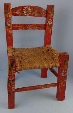 Vintage Primitive Red Hand Painted Child's Chair Mexican Batea Folk Art L | eBay