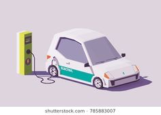 Buy Vector Low Poly Electric Car by on GraphicRiver. Vector low poly electric car and electric vehicle charging station