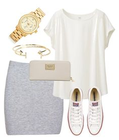 """What I'd Wear"" by monmondefou ❤ liked on Polyvore featuring moda, Boohoo, Uniqlo, Aéropostale, Converse e Michael Kors"