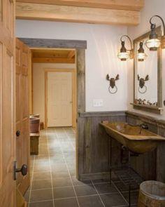 Lodge bathroom decor rustic cabin bathroom decor woodland ca Rustic Cabin Bathroom, Lodge Bathroom, Rustic Bathroom Lighting, Cabin Bathrooms, Rustic Bathroom Designs, Primitive Bathrooms, Rustic Bathrooms, Design Bathroom, Vintage Bathrooms