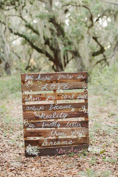 wedding quote and rustic wood pallets wedding decor