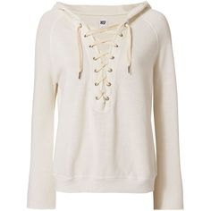NSF Women's Soft Sweats Lace-Up Hoodie found on Polyvore featuring tops, hoodies, sweaters, shirts, outerwear, ivory, hoodie shirt, lace up top, lace up hoodie and long sleeve hoodie