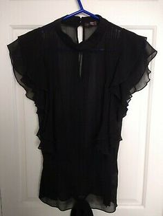 Gorgeous Blouse in Sheer Silk. Features a High Neckline, Double Frilled Sleeve, Tiny Pleated Details down the Front, Keyhole Back which Fastens at the Back of the Neck with Two Covered Buttons, Long Concealed Side Zip and a Long Back Tie. Silk Dress, Ruffle Blouse, Shirt Blouses, Shirts, Black Tops, Ted Baker, Red, Ebay, Dresses