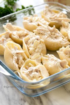Chicken Stuffed Shells is a complete meal that is easy, creamy and prepared in record time! Juicy chicken stuffed inside of tender pasta shells and smothered with cheese on every level. Perfect for busy weeknights, you can make this delicious and hearty meal for your family without spending hours over the stove.