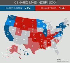 Cenário eleitoral dos EUA até agora. Os estados indefinidos (cinzas) serão decisivos, especialmente Florida, North Carolina e New Hampshire para o resultado final.