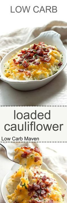 Low carb loaded cauliflower with sour cream, chives, cheddar cheese and bacon. K… Low carb loaded cauliflower with sour cream, chives, cheddar cheese and bacon. I would leave it in florets instead of pulverizing it in a food processor! Ketogenic Recipes, Low Carb Recipes, Cooking Recipes, Ketogenic Diet, Banting Recipes, Atkins Recipes, Carb Free Dinners, Keto Veggie Recipes, Carb Free Snacks