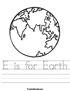 E is for Earth Worksheet from TwistyNoodle.com