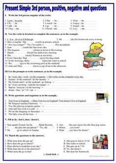 Present simple- 3rd person,positive, negative,questions