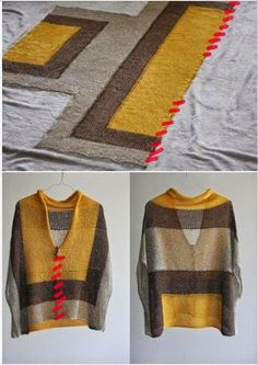 Knitting inspiration: sheer fabric color blocks not my colours but easy peasy style.Sweet, simple poncho by imogeneAbout Japanese knitters: ru_knittingIn the Buru suitcase: Tutorial of the poncho with only three seams: - Diy And CraftIdea for a simpl Knitted Poncho, Crochet Shawl, Knit Crochet, Crochet Clothes, Diy Clothes, Sheer Fabrics, Loom Knitting, Pulls, Knitting Projects
