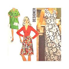 Vintage Pattern Simplicity 5350 Designer Fashion Misses Dress Gown Shawl Size 12