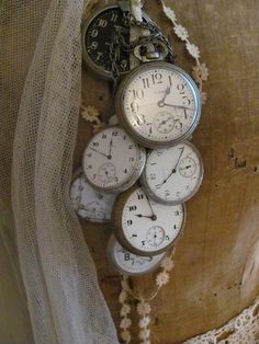 delightful decorated old pocket watches!~ I have three old pocket watches that belonged to my Grandfather~ These are very Beautiful all wrapped up together~ :) Old Clocks, Antique Clocks, Vintage Clocks, Antique Watches, Vintage Watches, Tick Tock Clock, Old Pocket Watches, Father Time, Time Stood Still