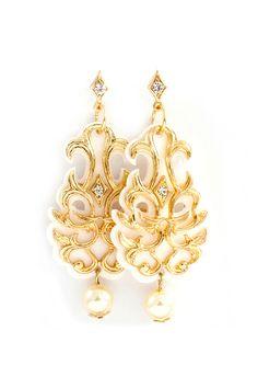 Baroque Chandelier Earrings in Ivory