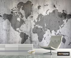Faded world map outline on cement wall wallpaper for industrial style decor World Map Outline, Cement Walls, Wall Wallpaper, Industrial Style, Maps, Abstract, Artwork, Decor, Wallpaper