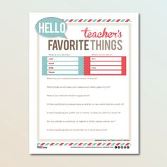 Teacher'sFavoriteThings Questionaire