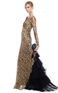 Alberta Ferretti Long Sleeve Lurex Lace Gown by ALBERTA FERRETTI for Preorder on Moda Operandi