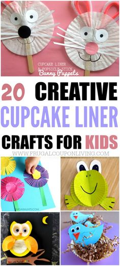 Best Ideas DIY and Crafts Inspiration : Illustration Description Creative Cupcake Liner Crafts for Kids on Frugal Coupon Living. Using every day items to create art projects for kids. Cupcake Liner Crafts, Cupcake Liner Flowers, Cupcake Liners, Cupcake Wrappers, Cupcake Flower, Easy Art Projects, Projects For Kids, Spring Crafts For Kids, Art For Kids