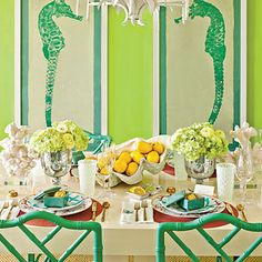 Palm Beach chic, with sea horses and a lively green. from The Glam Pad