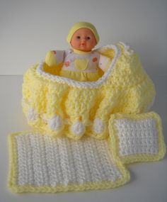 Etsy $15.00 Yellow Cradle Purse, Baby doll, Blanket and Pillow