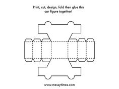 Build A 3D Car Activity For Kids. Printable.  Printable Car Template