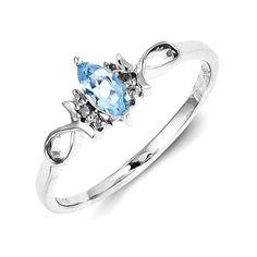 Sterling Silver Genuine Diamond And Sky Blue Topaz Ring