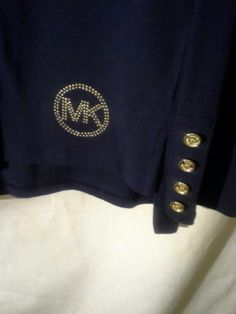 NWT! MICHAEL KORS Studded Logo Long Sleeve Tee Top Sz S  NAVY Gold Button Cuff #MichaelKors #LongSleevedTShirt
