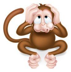 Hear no Evil Cartoon Wise Monkey vector art illustration