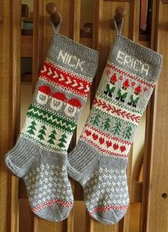 Hand Knitted Christmas Stocking Grey With Gnomes Made To
