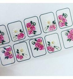Película Artesanal Flor Rosa Pink com Borboleta - Adesivos para Unhas, Películas para Unhas e Esmaltes - Doce Película
