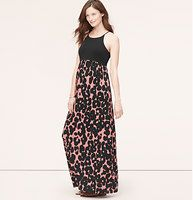 "Maternity Spotted Halter Maxi Dress   - We love the printblocked play of solids and spots throughout this halter-topped beauty. Halter neck. Sleeveless. Cutout at back neck with button closure. Lined bodice, unlined skirt. 46 3/8"" from waist seam."