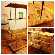 T. and I made these DIY shelves with OSB, threaded steel rods, nuts, washers, and a drill. Version for my room will use reclaimed wood!