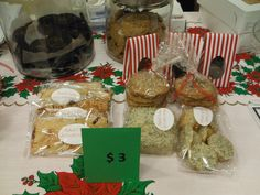 $3 items Blueberry Hand pies Lemon poppy seed mini muffins and mini loaves Chocolate coated butter toffeee
