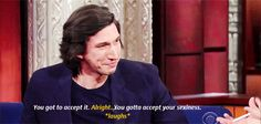 Adam Driver on the late show with Stephen Colbert