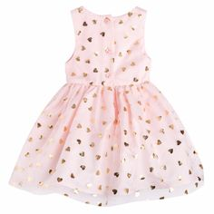 Gorgeous pink and gold girls dress!    The Young Hearts Dress features gold foil heart print pattern with a full skirt and under lining. Perfect for your little princess!    First Birthday | Baby Girl | Party Dress | Tutu Dress | Kids Fashion