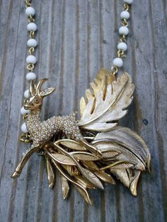 The Escape Revamped Vintage Deer Necklace by magandajewelry