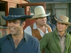 """""""Bonanza"""" - The Cartwright boys - Adam, Hoss, and Little Joe - in order of oldest to youngest"""