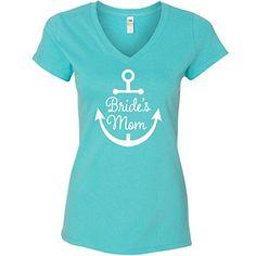 540a27bbb0a Inktastic Women s Bride s Mom Nautical Anchor Wedding Junior V-Neck T-Shirts  Large Scuba