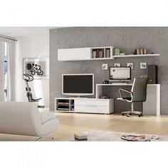 TV and desk combo Decor Pinterest Bookcase desk and Tv cabinets