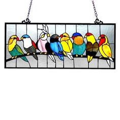 Birds Design Art Glass Window Panel with Bronze Finish | Overstock.com Shopping - The Best Deals on Stained Glass Panels
