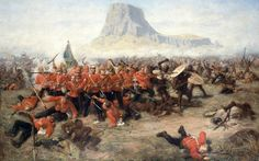 """Queen Victoria's Longest Day Battle of Isandhlwana (1879) - Charles Edwin Fripp The """"horns"""" of the Zulu attack never achieved total envelopment of the British and their encampment, as they charged in behind the withdrawing British troops, separating them from the camp.  Though some escaped in the direction of Rorke's Drift to the west, most of those fleeing headed through the hills to the southwest, the shortest route to the Buffalo River."""
