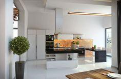 Näher in die Küche, wir sehen ein weiteres Element dunkle Quarz-Arbeitsplatten eingeführt, ebenso wie eine glühende gelb getönten Akzent Wand im Hintergrund. Die große Insel wird dieser Bereich innerhalb der größeren offene Raum definiert.