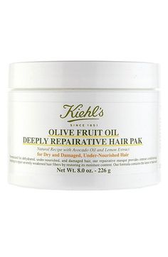 Kiehl's Since 1851 Olive Fruit Oil Repairing Hair Mask / Masque. $25 \\\ Provides intense conditioning, helping to repair severely weakened hair fibers by restoring its moisture content. Ideal for hair weakened by overexposure to sun, chemical-processing or excessive heat styling.