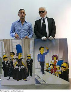 Marc Jacobs, Karl Lagerfeld, Linda Evangelista and The Simpsons in Paris.