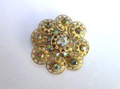 Aurora Borealis rhinestone floral gold tone by VintageJewelryetal