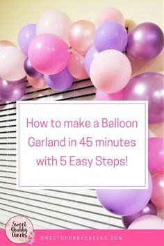 tutorial on how to make these gorgeous balloon garlands. The whole thing only took about 45 minutes! Supplies: 36 balloons in various colors clear fi Unicorn Birthday Parties, Unicorn Party, Birthday Ideas, Birthday Party Checklist, 1st Birthday Balloons, Birthday Garland, 3rd Birthday, Baloon Garland, Party Garland