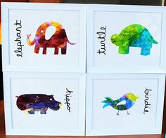 Yet another way to keep your child's artwork! These animals made from a kid's painting would look adorable hung in a little boy or girl's room.